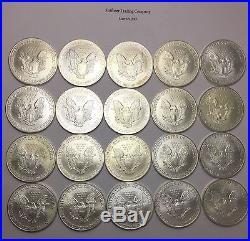 2000 $1 American Silver Eagles 1oz. 999 Fine Silver Roll of 20 Coins