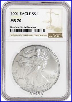 2001 $1 Silver American Eagle NGC MS70