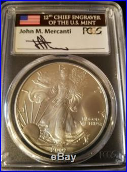 2002 American Silver Eagle MS70 Mercanti Signed Population only 36. Only $1999