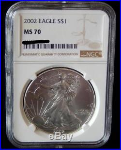 2002 NGC MS70 PERFECT! ASE American Silver Eagle Dollar Coin (BK41)
