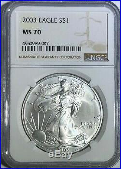 2003 Ngc Ms70 Silver American Eagle Mint State 1 Oz. 999 Fine Bullion