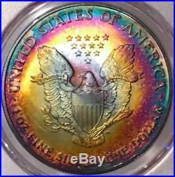 2005 American Silver Eagle PCGS MS68 Gorgeous Vivid Rainbow Tone Toner Toned