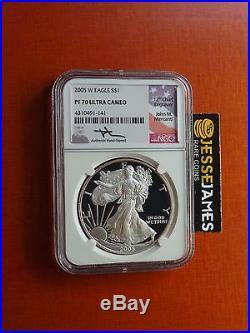 2005 W Proof Silver Eagle Ngc Pf70 Ultra Cameo Rare Mercanti Signed