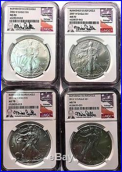 2006-2016 W Burnished Silver Eagle Ngc Ms70 Mike Castle Complete 9 Coin Set