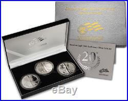 2006 American Silver Eagle 20th Anniversary 3 Coins Set With Box & COA