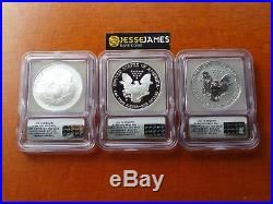 2006 P Reverse Proof Silver Eagle Icg Pf70 Sp70 20th Anniversary 3 Coin Set Fr