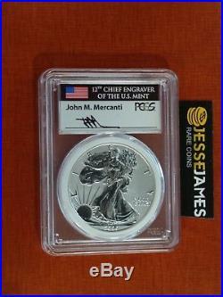 2006 P Reverse Proof Silver Eagle Pcgs Pr70 Mercanti Rare Mint Engravers Series