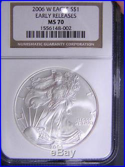 2006 w SILVER EAGLE NGC MS 70 EARLY RELEASES