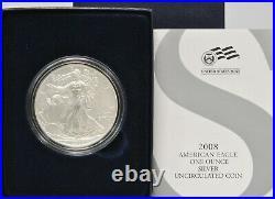 2008 US Mint UNC American Silver Eagle ASE 2007 REVERSE U Error Rare Coin OGP