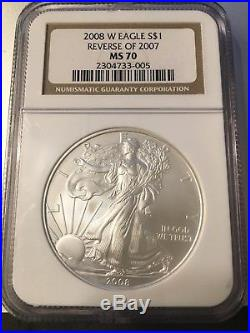 2008 W AMERICAN SILVER EAGLE NGC MS70 REVERSE of 2007