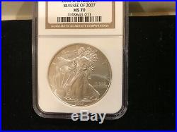 2008 W American Silver Eagle Ngc Ms70 Reverse Of 2007 Label Spot Free Gem