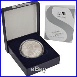 2008-W American Silver Eagle Uncirculated Collectors Burnished Coin Reverse 2007