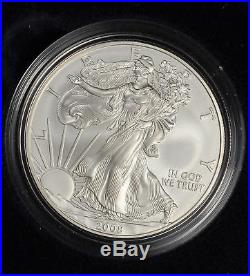 2008-W (REVERSE OF 2007) BURNISHED AMERICAN SILVER EAGLE Box and COA -(557)