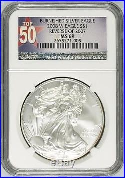 2008-W Silver American Eagle Reverse of 2007 MULE Error MS-69 NGC