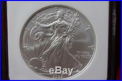 2008 W United States Silver Eagle, Reverse Of 2007, Ngc Ms 69, Early Releases