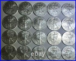 2011 $1 Silver American Eagle Roll Of 20.999 Fine Gem Bu Uncirculated