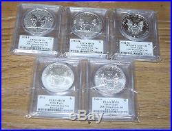 2011 25th Anniversary Silver Eagle 5 Coin Set Mercanti Signed PF/MS70 FS