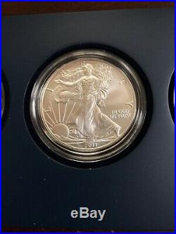 2011 American Eagle 25th Anniversary Silver 5 Coin Set Display Box & COA