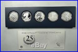 2011 American Eagle 25th Anniversary Silver 5 Coin Set Display Box & COA 405