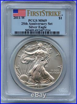 2011 American Silver Eagle 25th Anniversary 5 Coin Set PCGS PR69 MS69 JX067