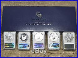 2011 American Silver Eagle 25th Anniversary 5-Coin Set PF70/MS70 NGC