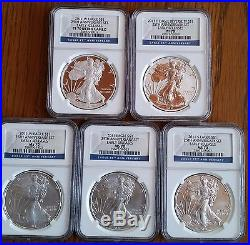 2011 American Silver Eagle 25th Anniversary 5-Coin Set PF70/MS70 NGC 2567229-019