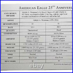 2011 American Silver Eagle 25th Anniversary Silver 5 Coin Set (withBox and COA)