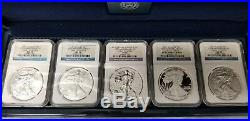 2011 NGC PF70 MS70 ER American Eagle 25th Anniversary Silver Coin Set w OGP/COA