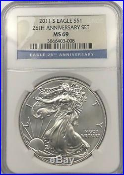 2011 S Ngc Ms69 Silver American Eagle From 25th Anniversary Set Low Mintage