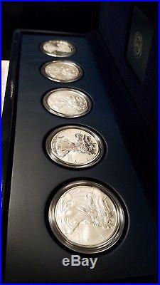 2011 Silver Eagle 25th Anniversary Five Coin Set in Original Box