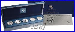 2011 Silver Eagle 25th Anniversary Five Coin Set in Original Box with COA NICE