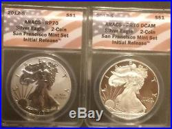 2012 S REVERSE PROOF SILVER EAGLE PR70 and RP70 SAN FRANCISCO Set