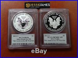 2012 S Reverse Proof Silver Eagle Pcgs Pr70 70 Mercanti San Francisco Set Black
