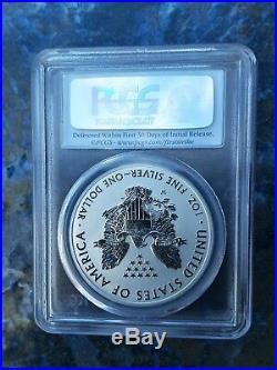2013-W American Silver Eagle $1 PCGS PR70 First Strike Reverse Proof Rare Flag