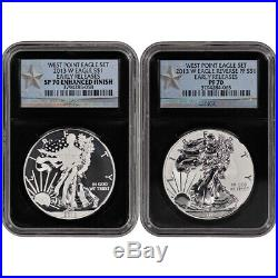 2013-W American Silver Eagle West Point Two-Coin Set NGC 70 ER Retro