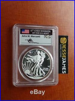 2013 W Enhanced Uncirculated Silver Eagle Pcgs Sp70 Rare Flag Mercanti Signed