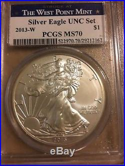 2013-w Silver Eagle UNC SET PCGS MS-70 from Annual Uncirculated Dollar Set