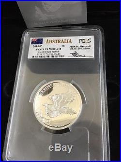 2014 AUSTRALIA 5oz $8 WEDGE TAILED SILVER EAGLE MERCANTI PCGS PR70 DCAM MERCANTI