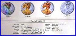 2014 USA AMERICAN EAGLE WALKING LIBERTY SET 4x1 Dollar Silver Four Seasons