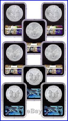2015-2017-(P)+(W)+(S) Am Silver Eagle 8-Coin Set NGC MS69 Blk Mercanti SKU49246