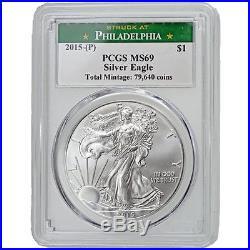2015 (P) American Silver Eagle PCGS MS-69 Philadelphia ONLY 79,640 Struck