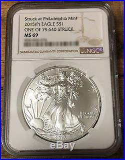 2015 P Silver Eagle ONLY 79640 MINTED Ultra RARE MS69 PERFECT NGC GRADED CASE