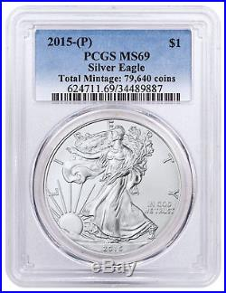 2015-(P) Silver Eagle Struck at Philadelphia 79,640 Struck PCGS MS69 SKU48930