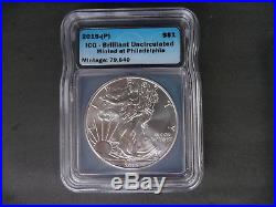 2015 (P) silver American eagle ICG Brilliant uncirculated Minted in Philadelphia