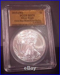 2015(W) 1oz Silver Eagle MS70 PCGS (Gold Foil Label) First Day West Point Strike