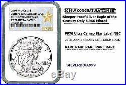 2016W PF70 Ultra Cameo Silver Eagle Star Label NGC 30th ANNV CONGRATULATIONS SET