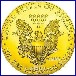 2016 1 Oz Silver DONALD TRUMP American Eagle Coin 24kt Gold Gilded