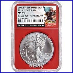 2016 (P) (W) (S) 3pc. Set $1 American Silver Eagle NGC MS69 Black Label Red Whit