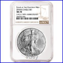 2016 (P) (W) (S) 3pc. Set $1 American Silver Eagle NGC MS70 Brown Label