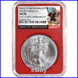 2016 (S) $1 American Silver Eagle NGC MS70 Black Label Red Core